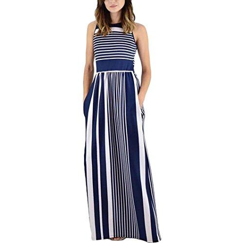 DongDong Hot Sale! Dress Sleeveless Crewneck Striped Women Summer Long Maxi Dress with Pockets