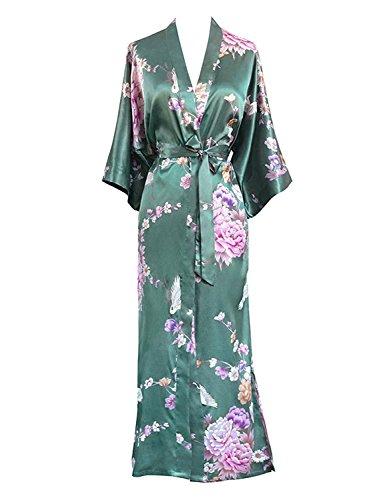 Dahanyi Comfortable Women's Kimono Long Robe - Chrysanthemum Crane - Jade (Dillards Robes)