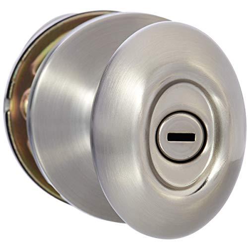 AmazonBasics Privacy Door Knob With Lock, Oval Egg, Satin ()