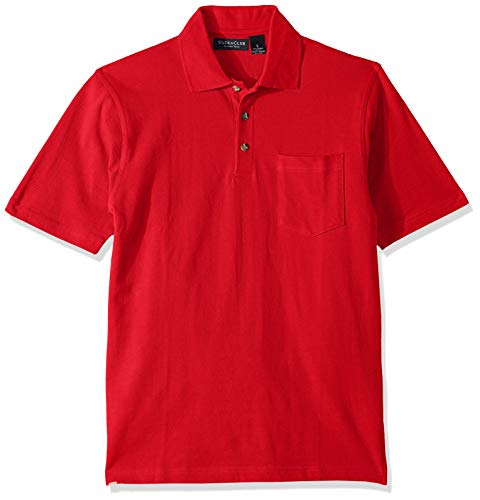 (Clementine Men's ULTC-8534-Classic Piqué Polo with Pocket, red, Medium)
