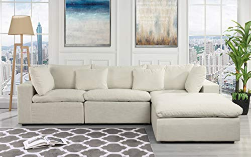 Configurable Sectional Sofa Couch, Convertible Sofa Sectional w/Reversible Chaise Ottoman, 3 Piece (Custom Couch Feature) Modern L-Shaped Sectional Sofa from 2Pc Loveseat to Chaise Ottoman Sofa, White