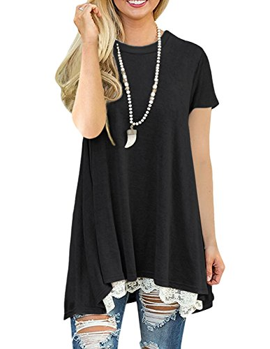 Womens Casual Loose Fit Shirts Short Sleeve Flowy Tunic Top for Leggings