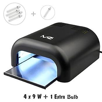 MelodySusie  36W UV Nail Dryer - UV Lamp Light for Any UV gel polish, with Sliding Tray & Timmer Setting + 4 x 9W UV Lamp + Free Extra One Bulb - Black