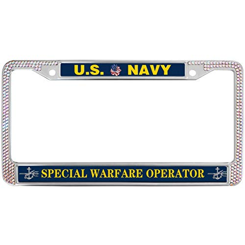 GND US Navy Special Warfare Operator License Plate Frame Sparkle Pink,United States Navy Rhinestone Car License Plate Frame Rhinestone Waterproof Pink License Plate Frame with Screw caps