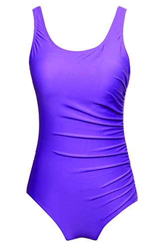 Wantdo clásico Classic athletic Backless Solid One Piece Swimsuit, Purple(001), M(US4-6)