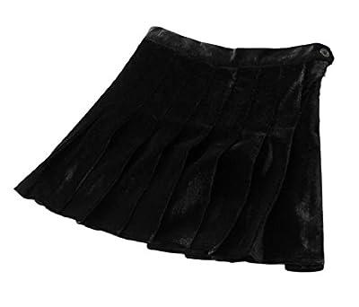 Howme Women's Elegant Velour Solid Color High-Waisted Skater Skirt