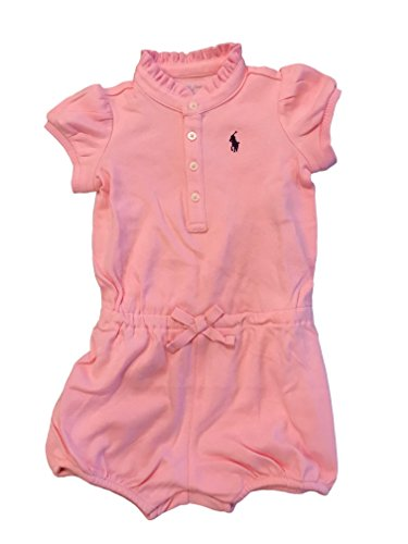 RALPH LAUREN Baby Girl Cotton Polo Romper (Carmel Pink, 6 - Girl Lauren Ralph