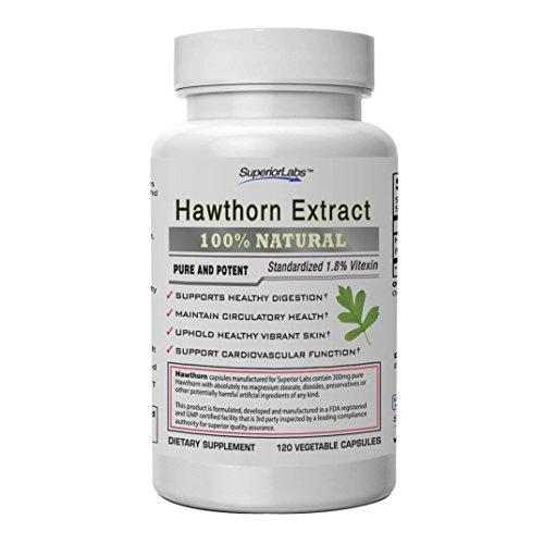 Superior Labs Best Hawthorn Vitamin Supplement NonGMO, Non Synthetic 300 mg Dosage, 120 Vegetable Capsules Powerful Antioxidant Healthy Digestion Circulatory Cardiovascular Health