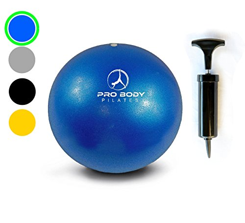 Mini Exercise Ball with Pump - 9 Inch Small Bender Ball for Stability, Barre, Pilates, Yoga, Core Training and Physical Therapy (Blue)
