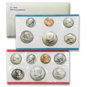 1980 US 13 Piece Mint Set in original packaging from US mint Uncirculated (Quarter Susan B Anthony)