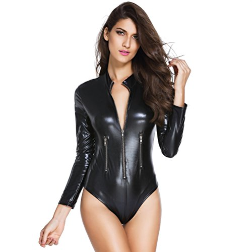 Tinksky Catwoman Costume Deep V PU Leather Rompers Motorcycle Bodysuit...