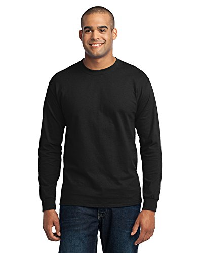Port & Company Men's Tall Long Sleeve 50/50 Cotton/Poly T Shirt XLT Jet Black from Port & Company