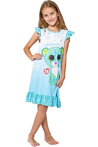 Beanie Boos Girls Leona Ruffle Nightgown Blue Night Shirt (Small -