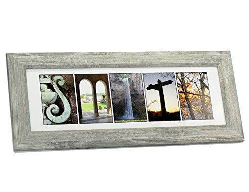 Creative Letter Art - Personalized Framed Name Sign with Nature Related Alphabet Photographs including Driftwood Self Standing Frame Alphabet Name Wood Frame