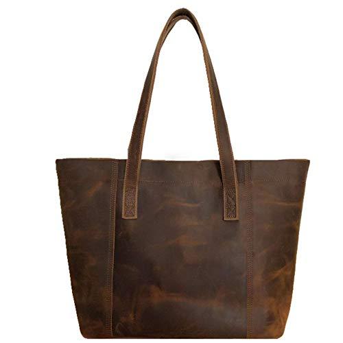 Minimalist Sturdy Durable Fits 16''Laptop Genuine Leather Handbag Tote Bag Shopper Purse Shoulder Bag School Bag Lady's Gift(Brown3.0)
