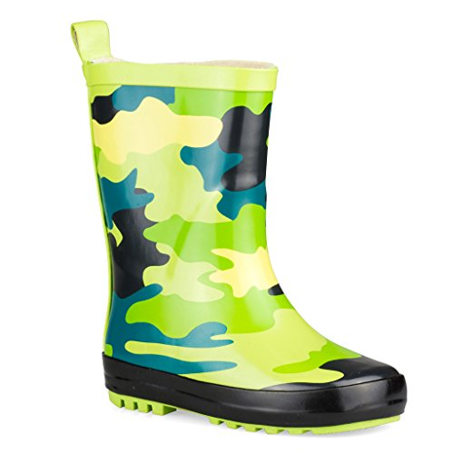 Wippette Rainboots For Boys, Girls and Toddlers - Mid-Calf Rain Boots For Kids, Fun Prints and Bold Colors,Gecko,8 M Toddler