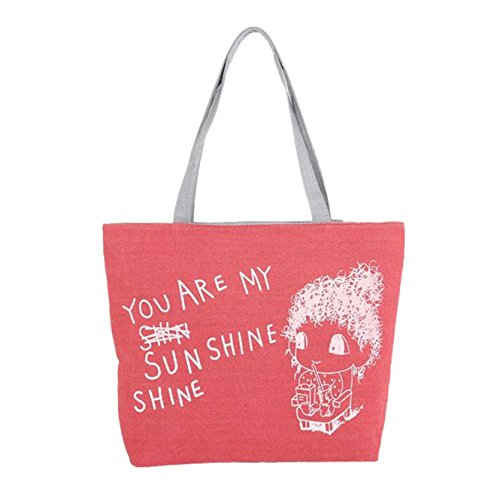 Handbag Shoulder Printing Cute Women Bag Canvas Yuan Red Bags hanle Top 1waIqx55On