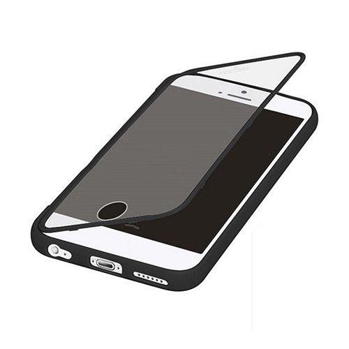 E8Q prueba de choques rugoso de goma de colores ventana transparente híbrido tirón de la caja protectora para iPhone 6S Plus Negro