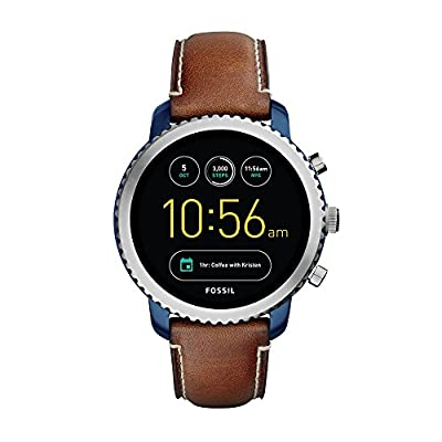 Fossil Q Men's Gen 3 Explorist Stainless Steel and Leather Smartwatch, Color: Blue, Brown (Model: FTW4004) from Fossil Connected Watches Child Code