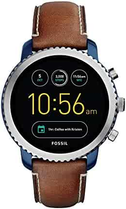 Fossil Q Men's Gen 3 Explorist Stainless Steel and Leather Smartwatch, Color: Blue, Brown (Model: FTW4004)