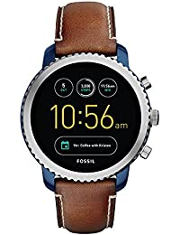 Q Men's Gen 3 Explorist Stainless Steel and Leather Smartwatch, Color: Blue, Brown (Model: FTW4004)