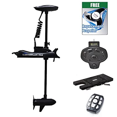 "Haswing Cayman 12v 55lbs Bow Mount Electric Trolling Motor Black 54"" Shaft with foot control&Quick Release Brakcet"