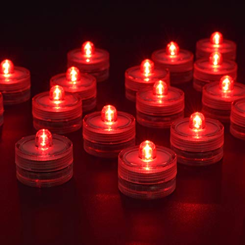 HL 36pack Red Waterproof Underwater Round Mini LED Tea Lights Submersible Lights for Wedding Home Patry Vase Festival Valentine's Day Decoration