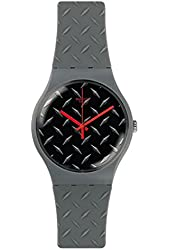 Swatch Text-ure Matte Black Dial Grey Plastic Rubber Quartz Men's Watch SUOM102