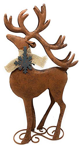 (D.I.D. Reindeer Metal Rustic Statue Christmas Holiday Home Office Room Barn Decor Figurines Fireplace Indoor Outdoor Ornaments)