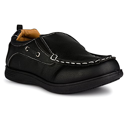 Chillipop Loafers for Baby Boys and Toddlers , Faux Leather Boat Deck Shoes,  Black (V2) 8 M US Toddler