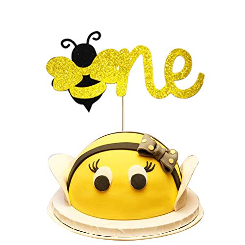 Astounding Bumble Bee Cake Topper Glitter Bumble Bee One Cake Topper For Personalised Birthday Cards Vishlily Jamesorg