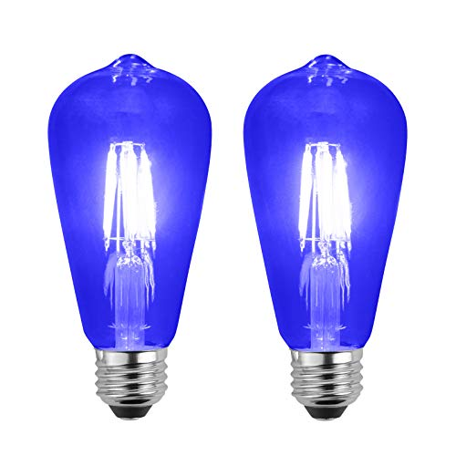 (SleekLighting LED 4Watt Filament ST64 Blue Colored Light Bulbs Dimmable - UL Listed, E26 Base Lightbulb - Energy Saving - Lasts for 25000 Hours - Heavy Duty Glass - 2)
