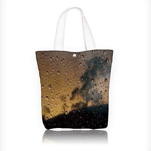 (Canvas Shoulder Hand Bag wet moon Tote Bag for Women Large Work tote Bag Shoulder Travel Totes Beach Bag W11xH11xD3 INCH)