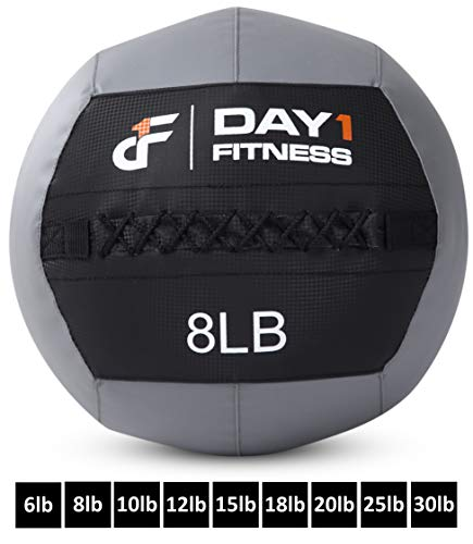 Day 1 Fitness Soft Wall Medicine Ball 8 Pounds - for Exercise, Physical Therapy, Rehab, Core Strength, Large Durable Balls for TRX, Floor Exercises, Stretching