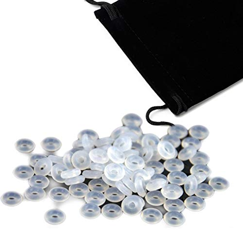 Prettyard Silicone Rubber Stopper Spacer Charm Gel Ring Fit Silver Bracelet +Pouch +2PC Random Glass Bead (White, 200PC/Pack) -