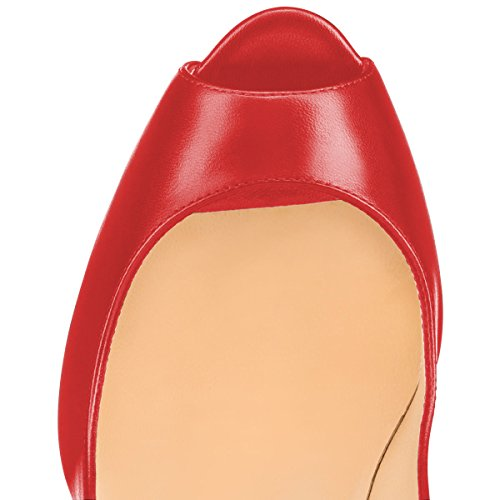 Peep Thick Office YDN Slip Pumps Dress High Heels Women Red Shoes Toe on ZUxgxIEq