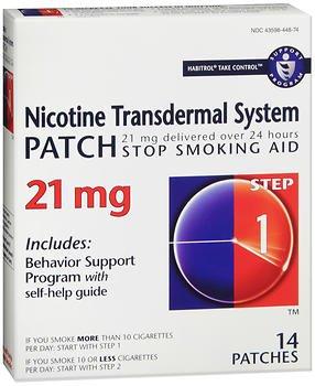 Habitrol Nicotine Transdermal System Step 1, 21mg Stop Smoking Aid - 14 each, Pack of 5