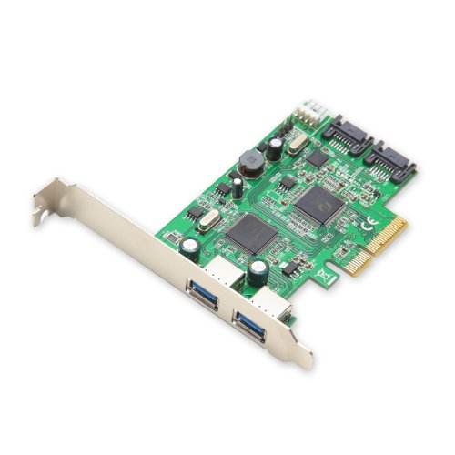 Syba SD-PEX50055 2 Port USB 3.0 and 2 Port SATA III PCIe 2.0 x4 Controller Card Green ()