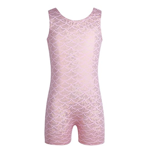 CHICTRY Girl's Mystique Sparkle Sleeveless Gymnastics Tank Leotard Colorful Ribbon Dance Unitards Shiny Scales Pink 6-7 - Mystique Tank Leotard