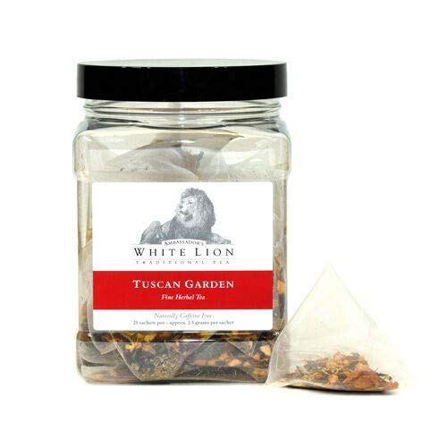 Tuscan Garden Fine Herbal Tea, 25 Sachets, White Lion Tea | Caffeine Free
