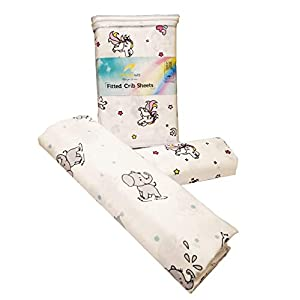 Handywa – 100% Cotton Fitted Crib Sheet Set for Baby & Toddler Bed Mattresses – Sweet Unicorn & Grey Elephants – White Background for Boys and Girls – Soft, Breathable (2 Pack)