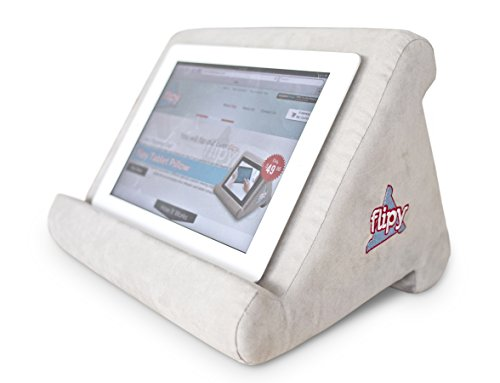 Flipy Multi-Angle Soft Pillow Lap Stand for iPads, Tablets, eReaders, Smartphones, Books, & Magazines (Grey)