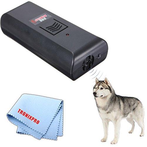 Ultrasonic Barking Dog Repeller, Dog Training Tool with LED Flashlight & Tronixpro Microfiber Cloth