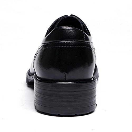 Santimon Mens Äkta Läder Derby Spets-up Affärer Skor Svart