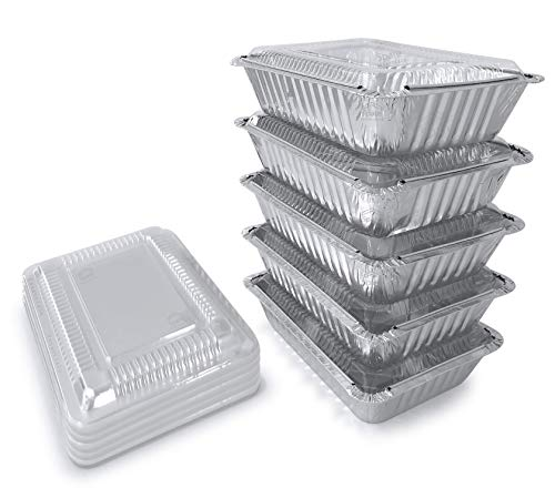 55Pack - 2.25 LB Aluminum Food Containers with Plastic Lids I Disposable Aluminum Pans I Foil Food Trays From Spare 2.25 Lb Capacity 8.5