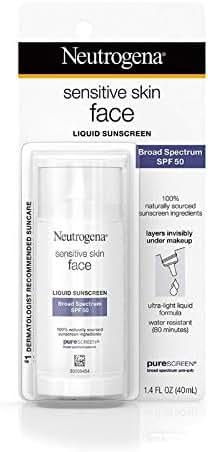 Neutrogena Sensitive Skin Face Liquid Sunscreen SPF 50, 1.4 oz (Pack of 3)