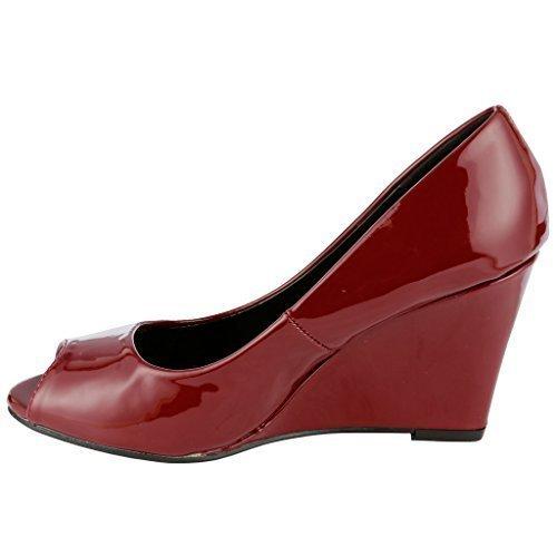 Coshare Women's Fashion Assorted Peep Toe Mid Heel Wedge Pumps, Burgundy, 6 M (Peep Wedge Pump)