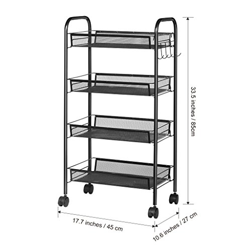 LANGRIA 4-Tier Bathroom Shelving Kitchen Island Utility Cart Facial Salon Spa Utility Organization Island Cart Easy Moving Flexible Wheels, 55 lbs Weight Capacity, Black by LANGRIA (Image #2)