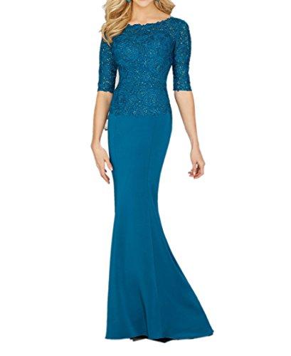 Partykleider Ballkleider Abendkleider Langarm Blau mit Elegant Brautmutterkleider Promkleider Lang Blau Dunkel mia La Dunkel Braut xnwq08SCT