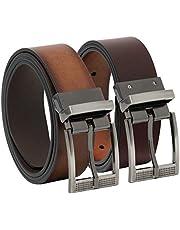Overwall Cinturón Casual de Cuero para Hombre Hecho en México- Reversible Color Café con Hebilla Clásica de Alta Calidad (1 pz).